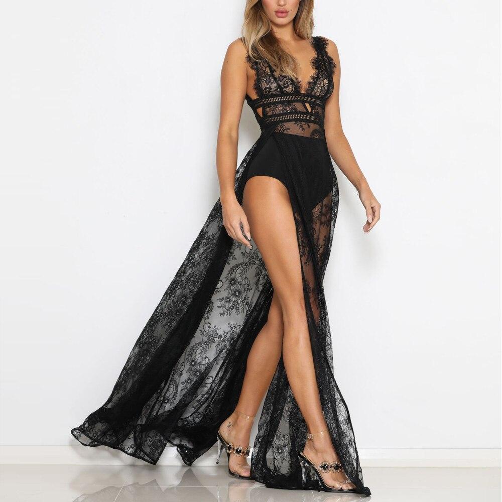 2021 kleider für Frauen Sexy Spitze Perspektive Sleeveless Feste Schlinge Abend Party Club Langes Kleid vestido de encaje picante #741