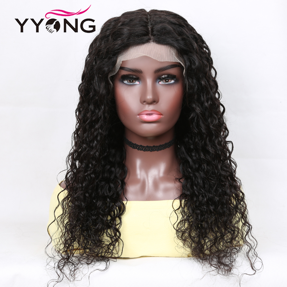 YYONG 13x1 Hairline Lace Part HD Transparent  Wig   Water Wave  T Part Lace Wigs With Baby Hair 4
