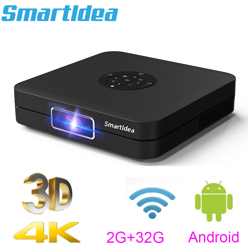Smartldea K1 HD DLP Projector android 2G RAM 32G ROM 4K 3D high brightness daytime beamer 5G wifi airplay video game proyector image