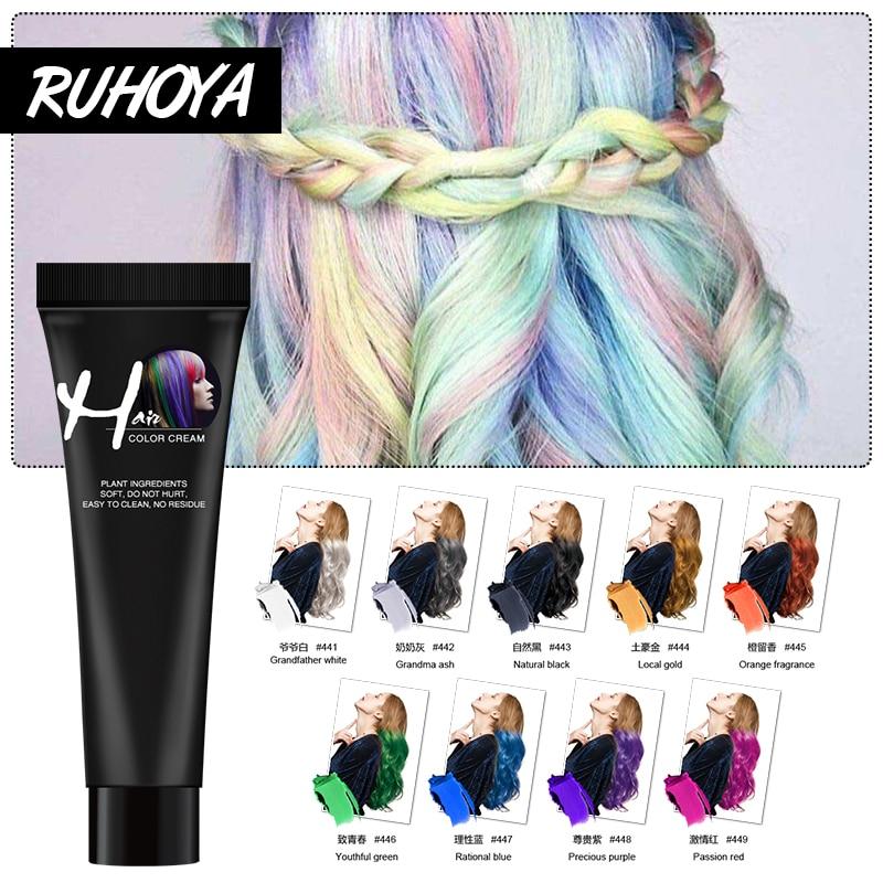 Ruhoya Fashion Colour Hair Color Wax Permanent Dye DIY Girls Beauty Hair Salon Hair Styling Color Cream