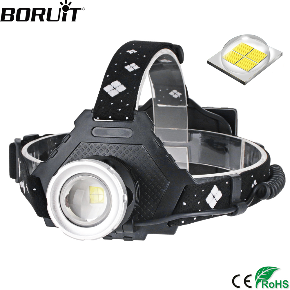 BORUiT 2063 LED Headlamp High Power XHP50 2000LM Zoom Headlight 5-Mode Power Bank Head Torch 18650 Rechargeable Flashlight