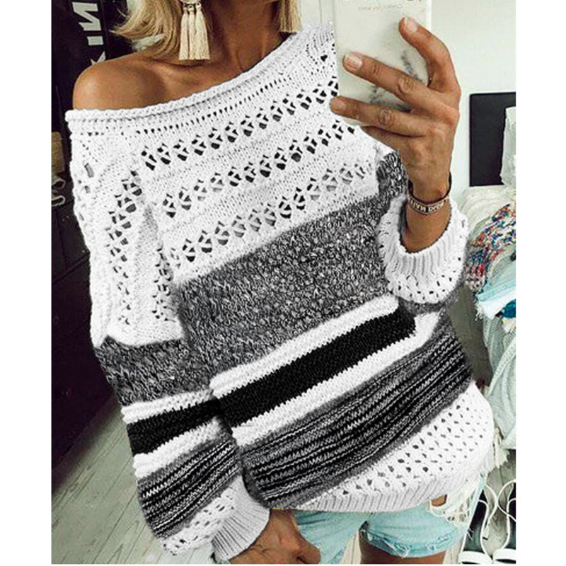 Knit Sweaters Women Invierno 2019 Casual O-Neck Long Sleeve Patchwork White Black Winter Fall Woman Sweaters Pullovers thumbnail