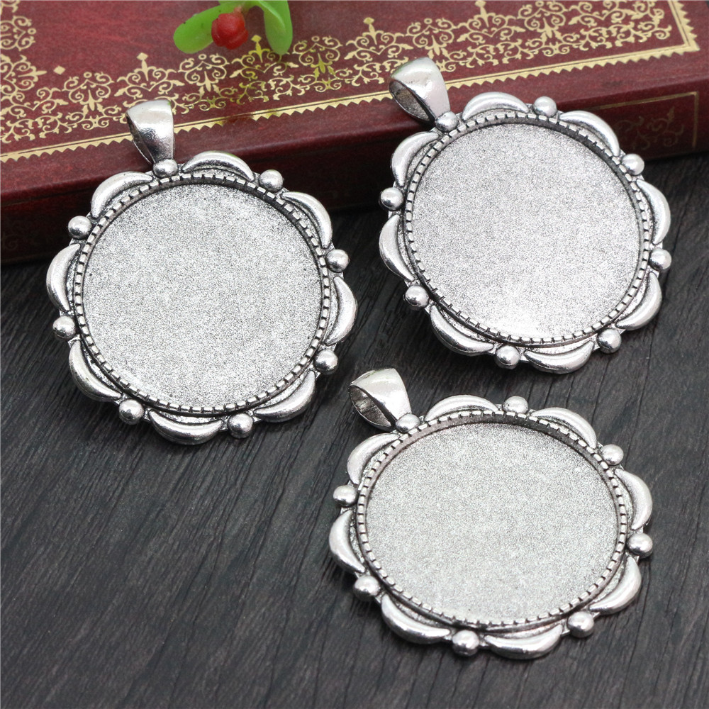5pcs 30mm Inner Size Antique Silver Plated Classic Style Cabochon Base Setting Charms Pendant (B5-15)