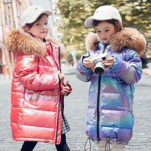 Girls' fashionable warm down jacket kids snowsuits winter Girls' clothing Girls' warm clothes in winter 3 6t russia winter keeps warm snow kids girls clothes big fur hats down romper girls catsuit outdoor overalls for boy kids