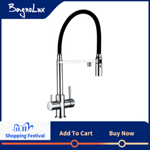 Clean Water Kitchen Faucet with Sprayer Gooseneck Pull Down Sink Mixer Solid Brass 360 Degree Rotation 3 Way Water Filter Taps