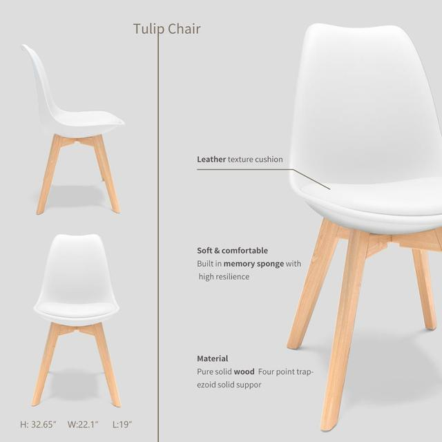 4Pcs/set Modern Style Chair Dining Chairs Plastic Shell Lounge Chair Natural Wood Legs Comfort Coffee Chairs with Seat Cushion 2