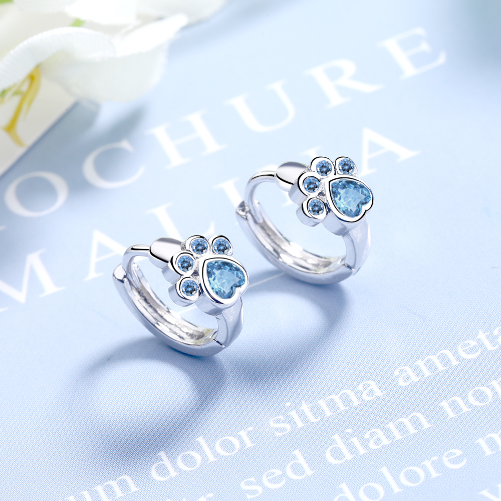 Simple Cute 925 Sterling Silver Animal Cat Paw Mark Blue Mosaic Zircon Crystal Earrings For Women Promise Wedding Band Jewelry