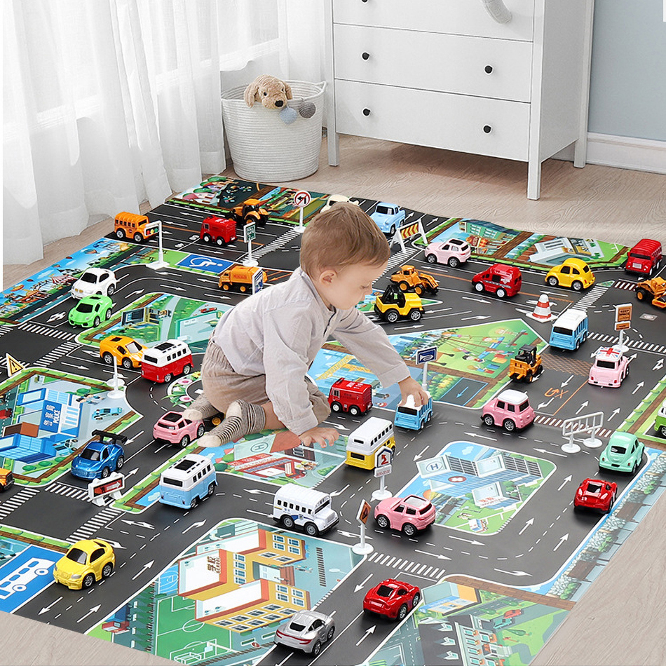 Baby Play Mat Road Map for Kids Cartoon Plastic Thin Traffic Rug Little Boys Girls Toys Playmat Babies Playing Educational Mat