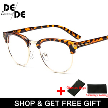 New Half Metal Women Glasses Frame Men Eyeglasses Vintage SquareClear Optical Spectacle spectacles