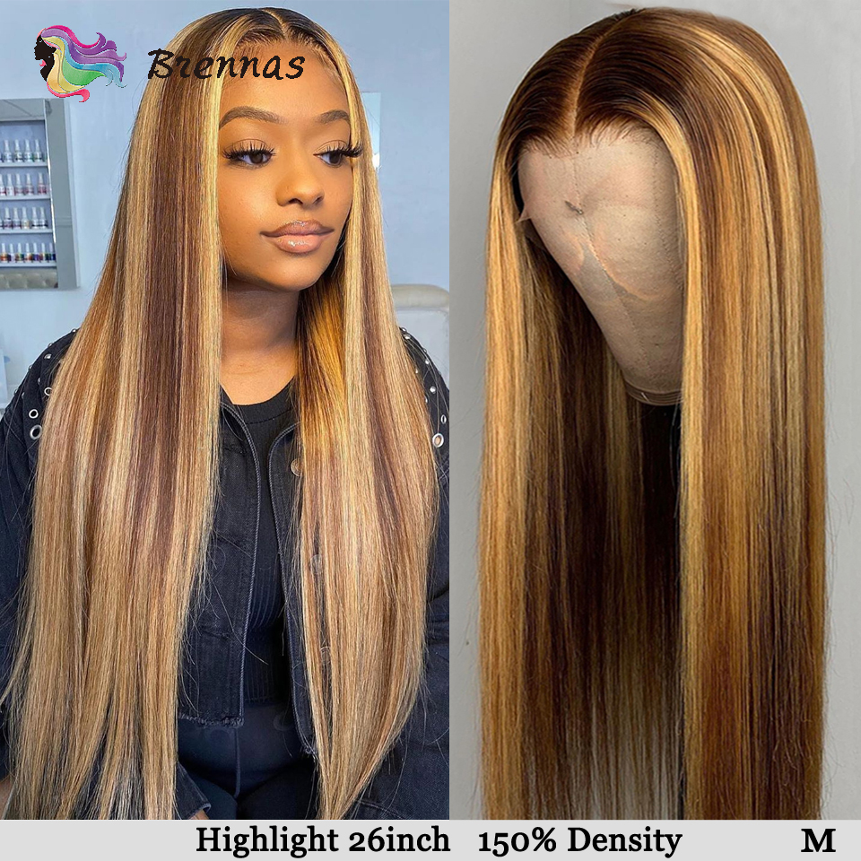 Straight Highlight 13*6 Deep Part Lace Front Wigs Brazilian Lace Front Human Hair Wig Remy Hair Honey Blond Highlight Wig Women