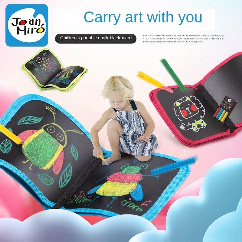 Enfants portable peinture tableau noir gouache bébé craie sac écriture peut transporter graffiti planche à dessin éclairage puzzle