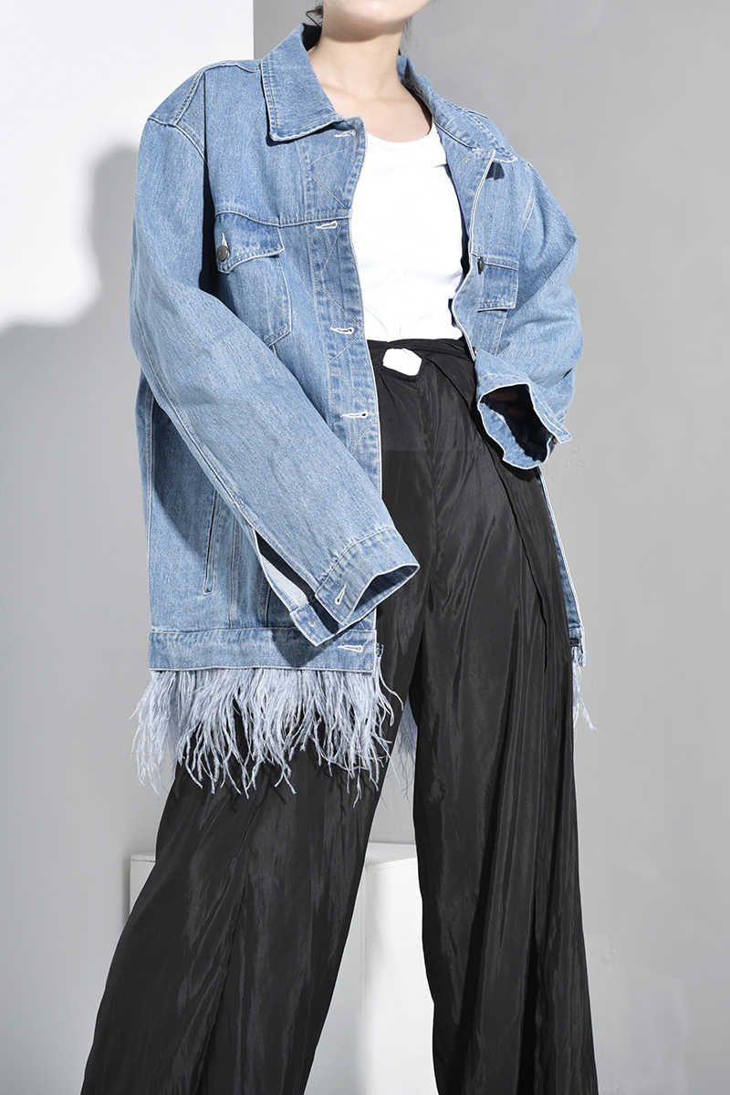 [[EAM] 2019 Mới Thu Đông Ve Áo Tay Dài Màu Xanh Denim Lông Vũ Chia Phần Lớn Kích Thước Áo Khoác Nữ Áo Khoác thời trang Triều JW8320