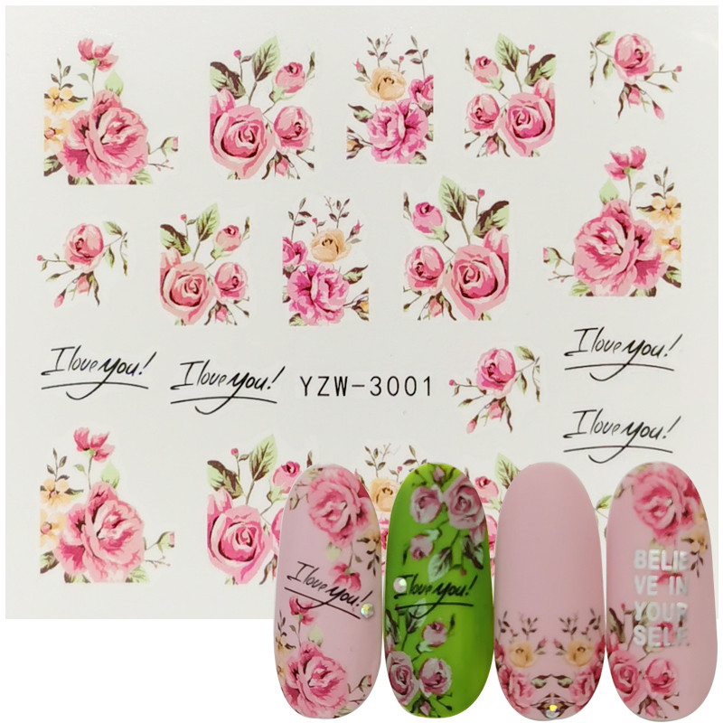 1pc Nail Art Flower Pink Colors ROSE Design Water Transfer Tattoos Nail Sticker Watermark Slider Decal For Beauty Manicure Tools