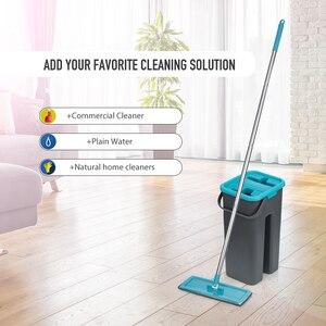 Image 3 - Düz sıkma paspas ve kova el ücretsiz sıkma zemin temizlik paspası mikrofiber paspas pedleri islak veya kuru kullanım parke laminat karo
