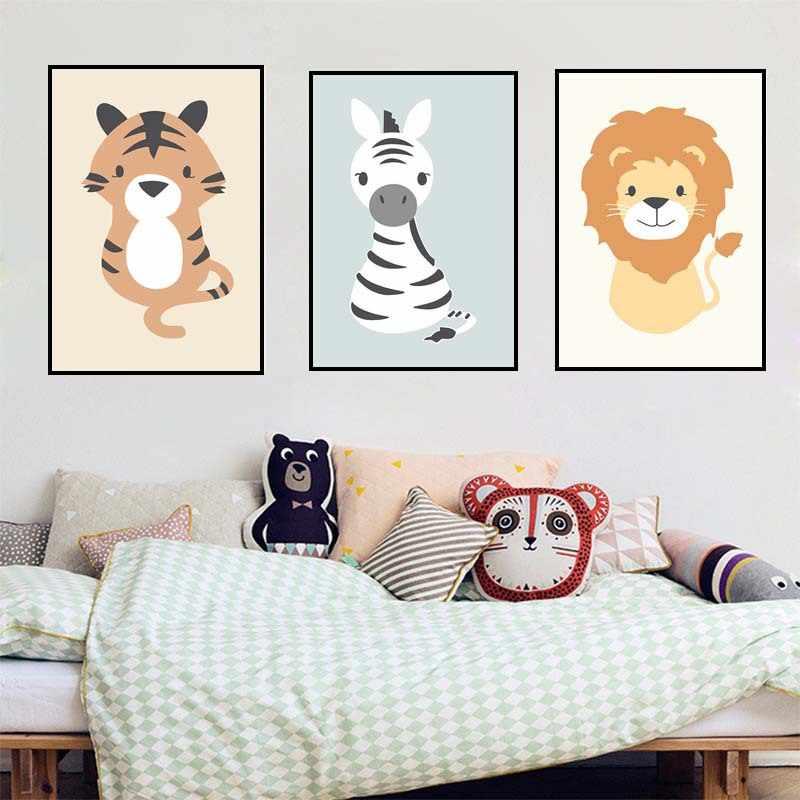 Adorável dos desenhos animados animais leão quarto das crianças quadros decorativos berçário pintura em tela arte da parede cuadros decoracion dormitorio