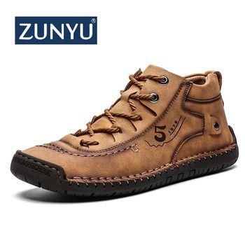 ZUNYU Leder Männer Casual Schuhe Britischen Stil Komfortable Männer Mode Wanderschuhe Große Größe Braun Schwarz Mann Weiche Flache Schuhe