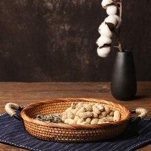 Cesta de pan redonda de ratán, Estilo Vintage, tejida con asa, bandeja de café o mesa de comedor