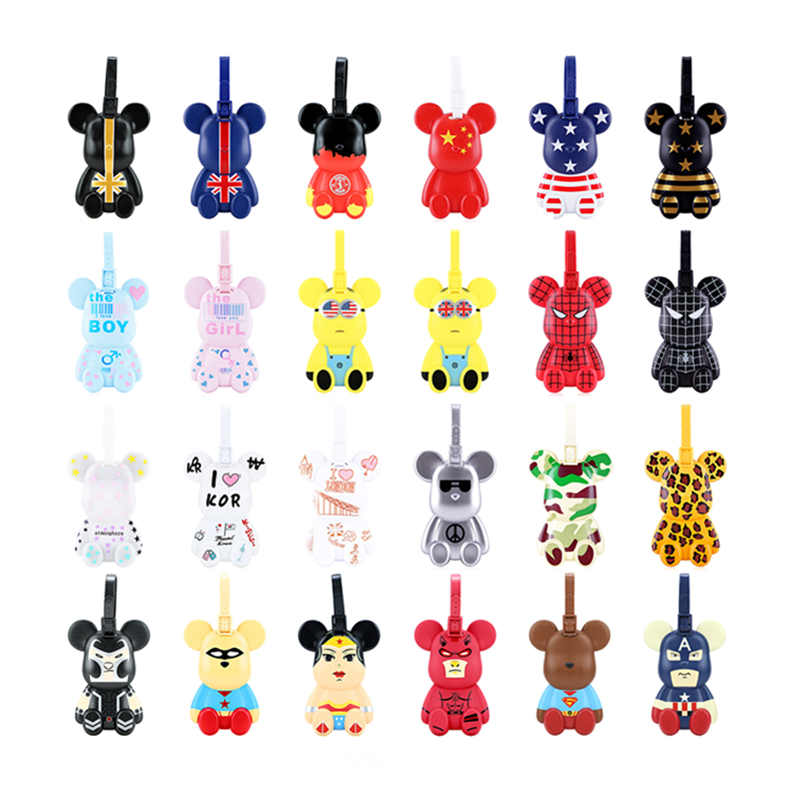 Cartoon Violent Bear Golf Bag Tag Caddie Cart Bag Name Plate Travel Tour Handbag PVC Label Address Tel Card Novelty Cute Gift