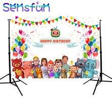 Sxy1661 사진 배경 Cocomelon 가족 어린이 생일 파티 장식 Photocall 배경 사진 스튜디오 배너 사용자 정의