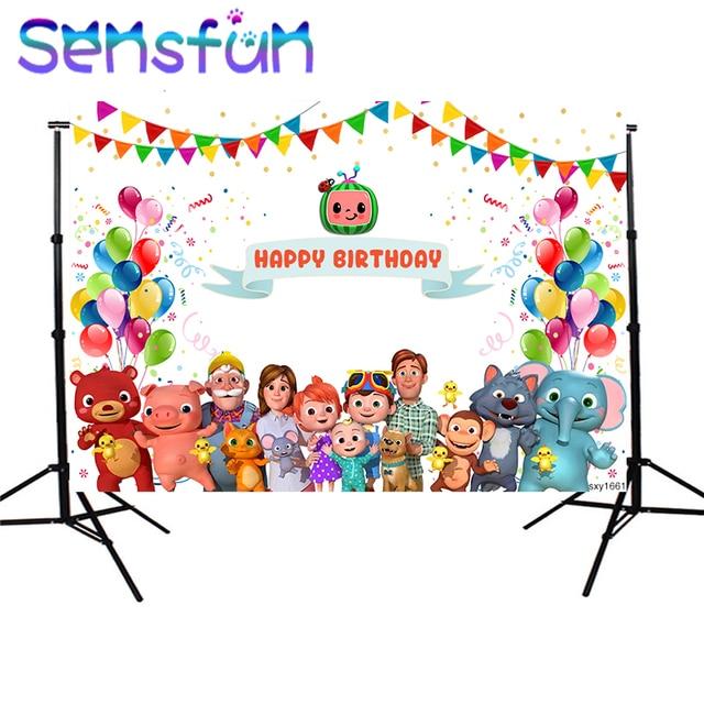 Sxy1661 خلفيات للتصوير الفوتوغرافي Cocomelon الأسرة تخصيص الأطفال حفلة عيد ميلاد ديكور صور خلفية استوديو الصور راية