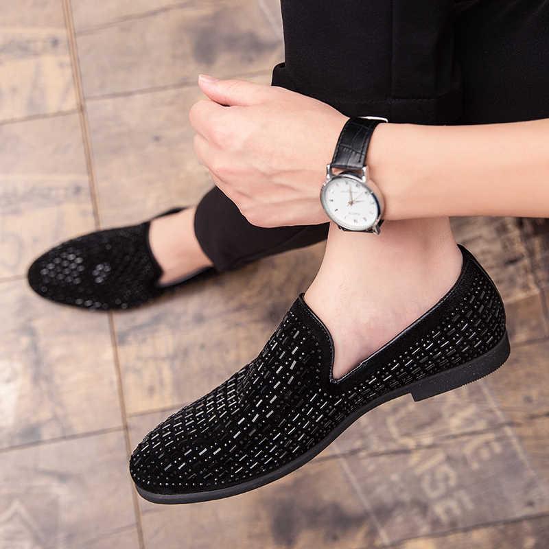 Мужские вельветовые Мокасины POLALI, черные роскошные мокасины со стразами, деловая обувь для офиса, 2020