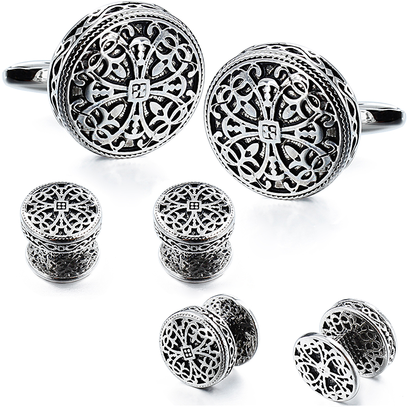 HAWSON Vintage Cufflinks and Tuxedo Shirt Studs for Men Retro Flower Pattern   Best Wedding Business Gifts for Men with Box-in Tie Clips & Cufflinks from Jewelry & Accessories