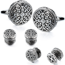 HAWSON Vintage Cufflinks and Tuxedo Shirt Studs for Men Retro Flower Pattern   Best Wedding Business Gifts for Men with Box