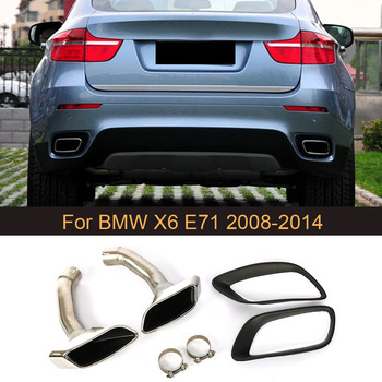 Stainless Steel Muffler Exhaust Pipe End Tips For BMW X6 E71 30D 35D 40D 2008 2009 2010 2011 2012 2013 Car-Styling image