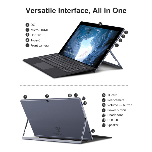 NEW Version CHUWI UBook 11.6 Inch 1920*1080 Display Intel N4100 Quad Core Processor 8GB RAM 256GB SSD Windows Tablets