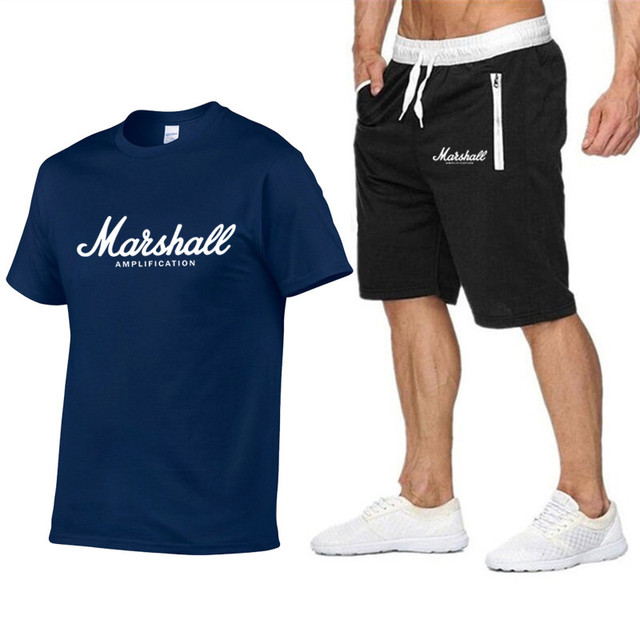 Marshall T-shirt + shorts men's sportswear summer suit short-sleeved T-shirt top fashion Tee Harajuku hip-hop street clothing