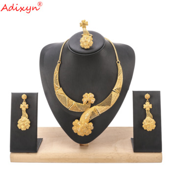Adixyn 24k Necklace/Earrings/Ring Jewelry set Gold Color Luxury Jewelry African Nigeria Middle east Wedding Party Accessories
