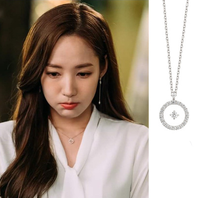 necklace+earrings Park Min Young YOO IN NA TV Why did Secretary King Drama Korean fashion chain jewelry Valentine's Day Gift