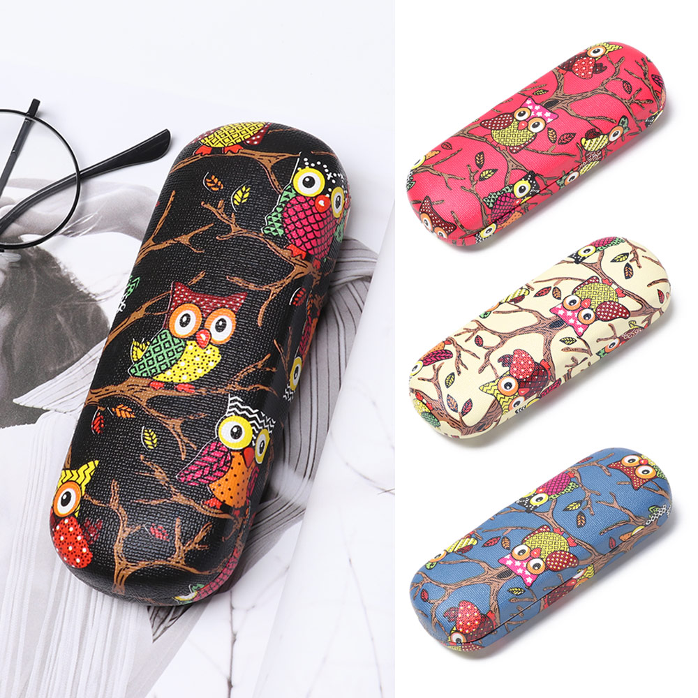 New Fashion 1Pcs Cartoon Owl Eyeglasses Case 1Pcs Women Men Glasses Box Hard Metal Glasses Protector Box Eyewear Accessories