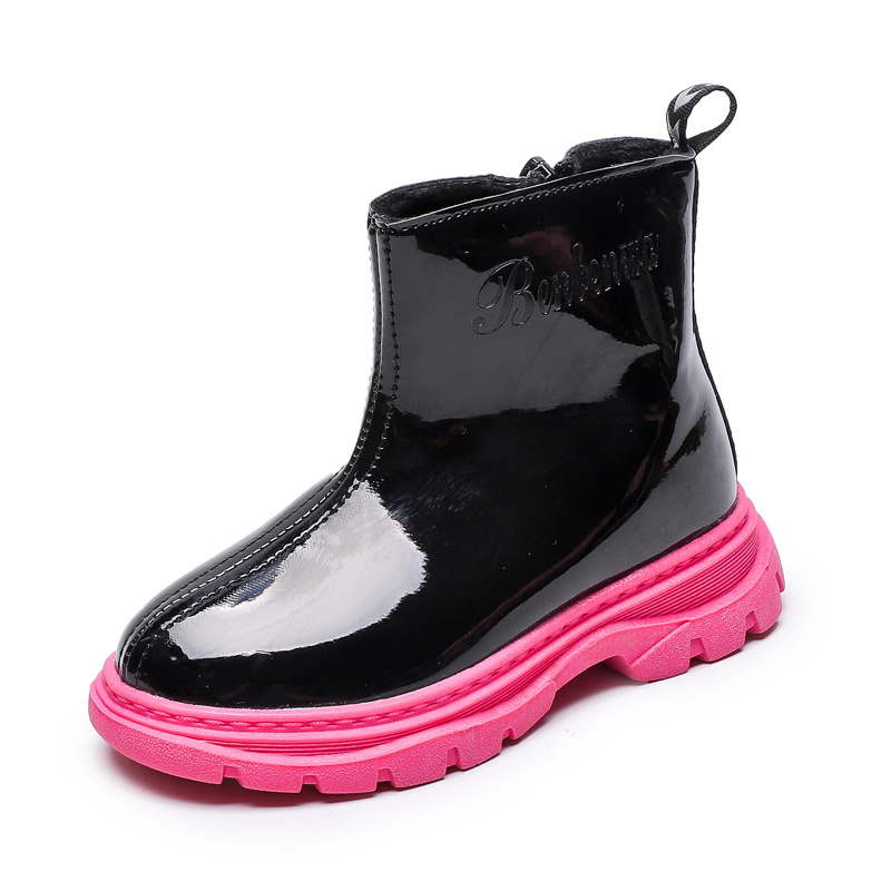 Kids Boots 2019 New Children Shoes Unisex Bright Leather Shoes For Girls Zip Waterproof Boys Boots Soft Fashion Girls Boots