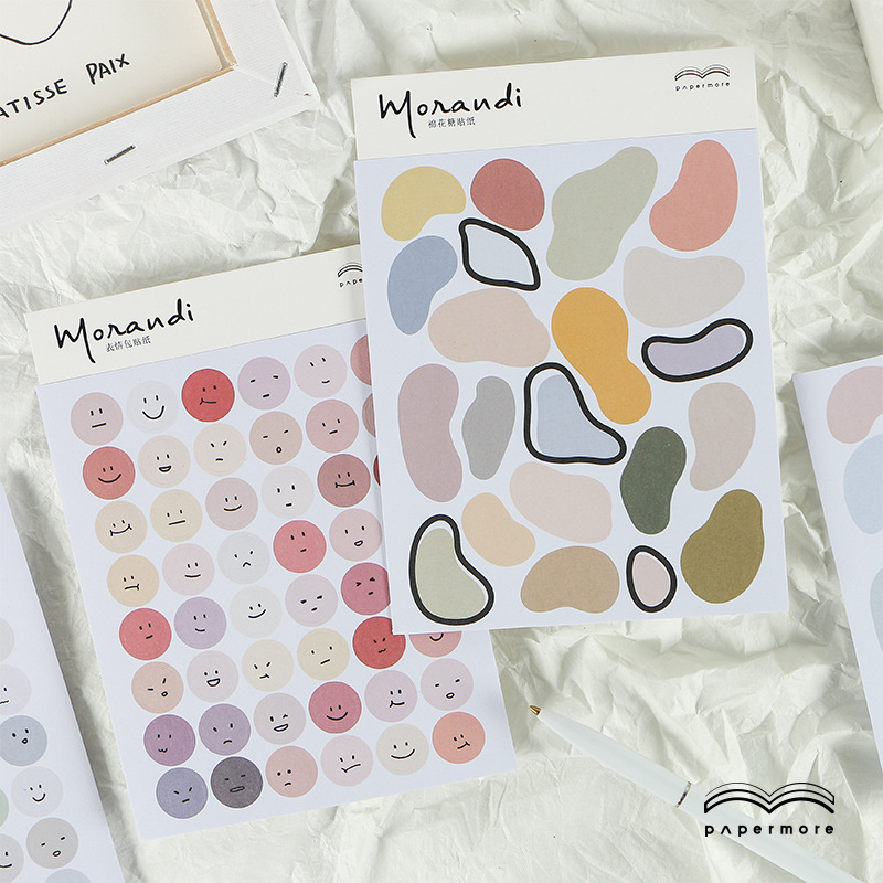 SIXONE 2 Pc Morandi Style Face Decorative Sticker Irregular Korean Diy Hand Account Diary Album Stick Label Nice Stationery