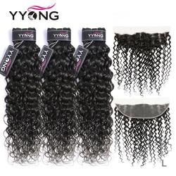 Yyong малазийские волнистые пряди с фронтальным Remy человеческие волосы пряди с фронтальным 13x4 уха до уха Кружева Фронтальная пряди