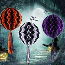 Halloween Party Honeycomb Colors Ball tassel Paper Flower Ball Lantern Funny hanging Decor USA Christmas ornaments free shipping(China)