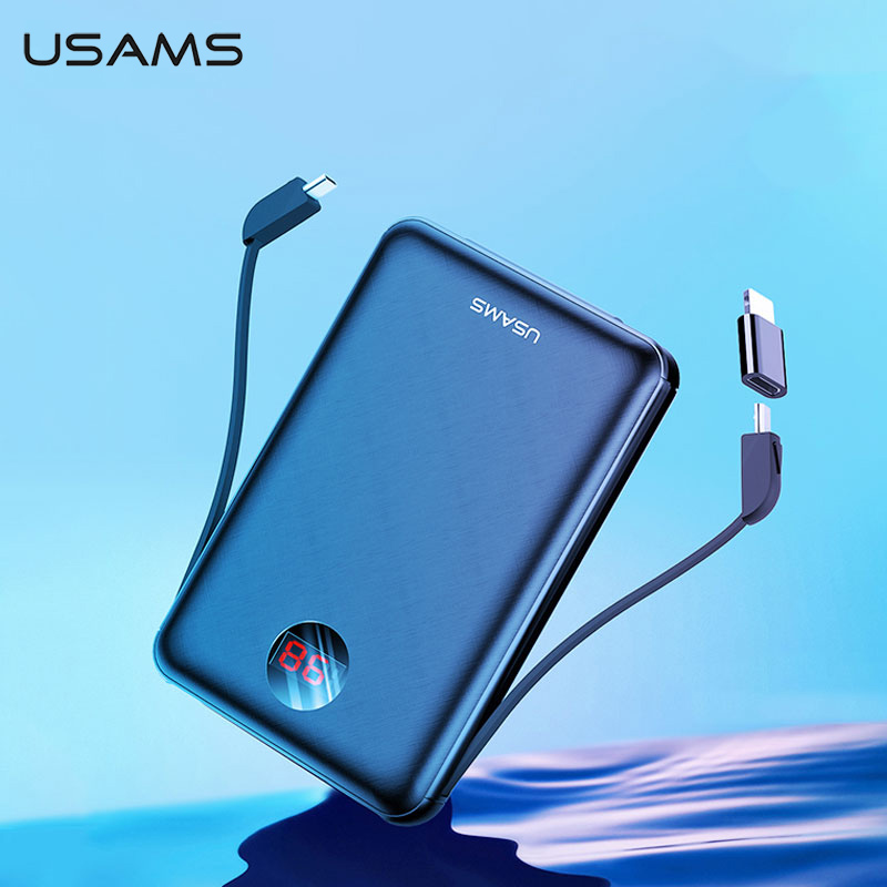 Usams 電源銀行 led ディスプレイ mi ni powerbank 外部バッテリー poverbank 充電 pover  銀行 xiaomi mi iphone 用の usb ケーブルで    グループ上の 携帯電話