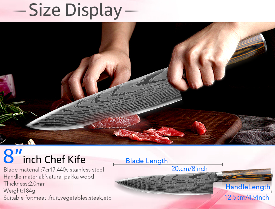 Kitchen knife Chef Knives Japanese 7CR17 440C High Carbon