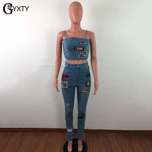 Image 4 - GBYXTY Cartoon Denim Sets Women Two Piece Set Spaghetti Strap Crop Top and Jeans Pants 2 Piece Set Club Outifts Tracksuit ZL403