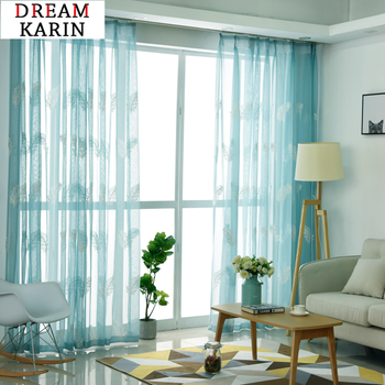 Modern Blue Embroidered Tulle Sheer Curtains For Living Room The Bedroom Curtains Feather Voile Curtains Panel For Window Drapes beige polyester flannel europe embroidered blackout curtains for living room bedroom window tulle curtains home hotel villa