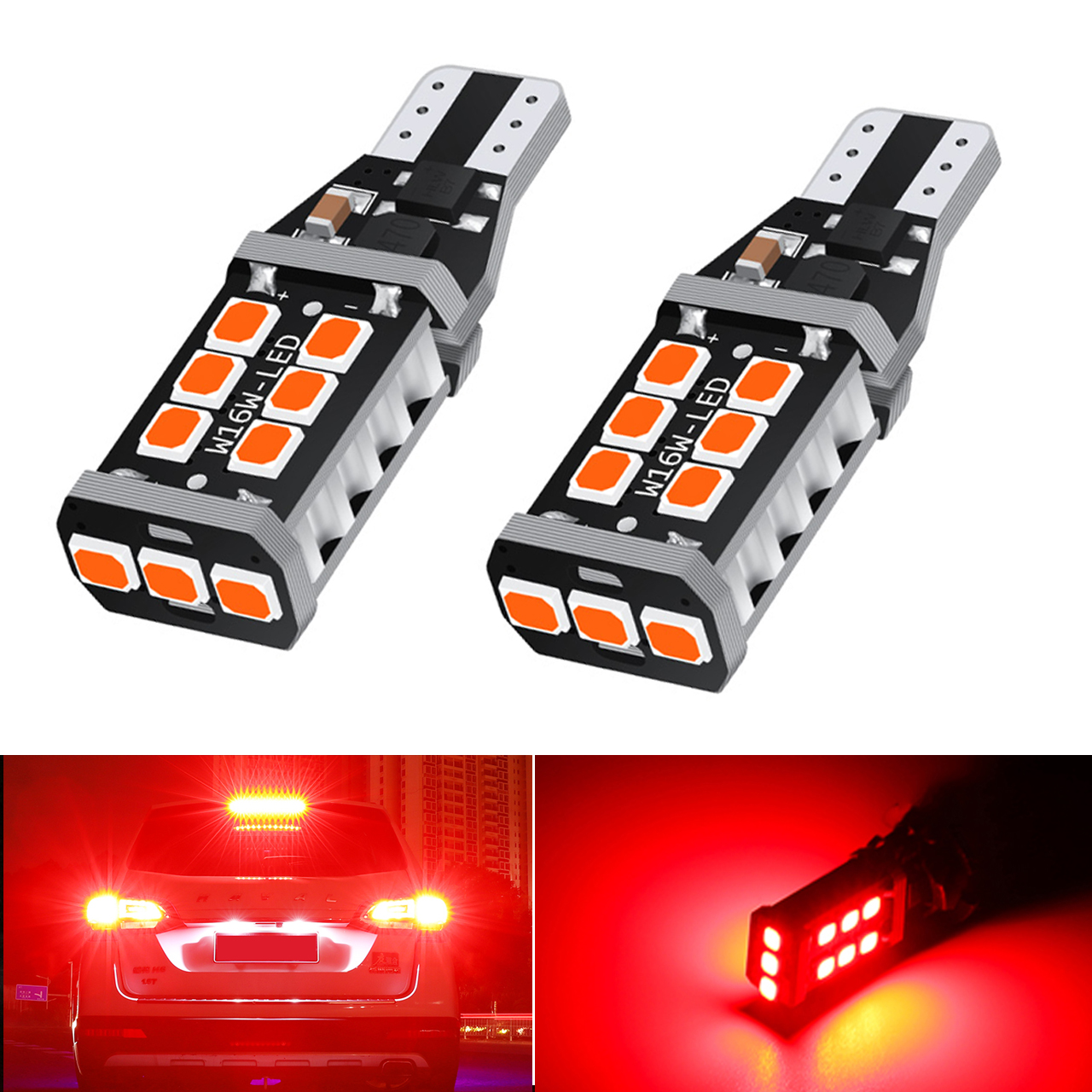 2x T15 W16W 15SMD 2835 LED CANBUS Super Bright NO ERROR Car Tail Bulb Brake Light Auto Reverse Lamp Turn Signals Red White Amber