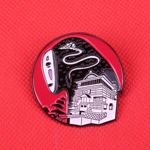 Spirited Away bathhouse pin no-face man brooch Haku badge movie fans gift(China)
