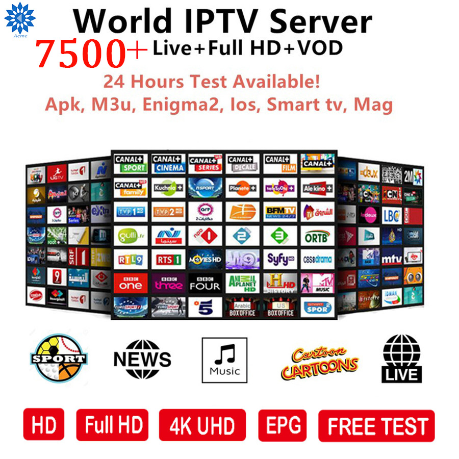 Free Test 7800+Live Spanish IPTV M3U Subscription Super Spanish IPTV Smart TV Germany Italian Albania Turkey For Android Enigma2