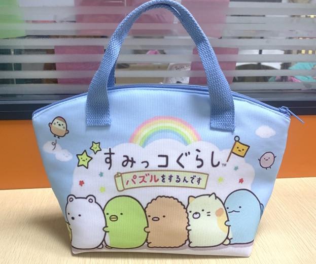 San-X Corner Bio Anime Cartoon Printed Canvas Cute Heat Preservation Tote Food Picnic Bags Zipper Lunch Bag For Kids Handbag