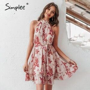 Image 2 - Simplee Sexy vestido de mujer sin mangas liso con volantes botones de fajín fiesta verano vestido Casual vacaciones señoras gasa playa mini vestido