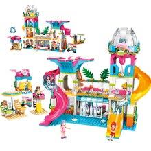 Новинка, Набор для игры в принцесс с друзьями, пляжный Солнечный Рай, водные горки, фигурки, сделай сам, развивающие строительные блоки, игрушка для девочек