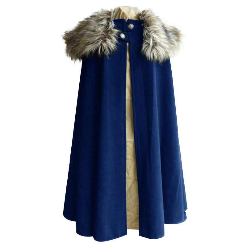 Mjartoria Game Of Thrones Middeleeuwse Mannen Winter Viking Cape Jas Ranger Jas Gothic Stijl Bontkraag Cape Mantel Jon sneeuw Kostuum