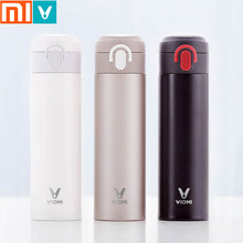 Original Xiaomi Mijia VIOMI Thermos mi Cup 스테인레스 스틸 진공 스마트 병 24 시간 플라스크 워터 보온병 싱글 핸드 온/닫기
