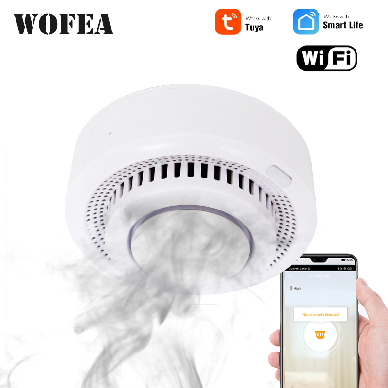 Wofea Wifi Smart Smoke Fire Alarm Home Security System Firefighters Tuya Smart Life Home Device No Need Hub